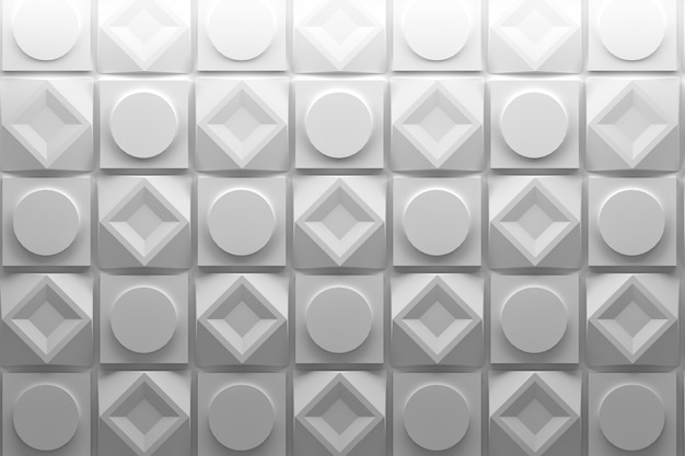 Square and round repeating white shapes