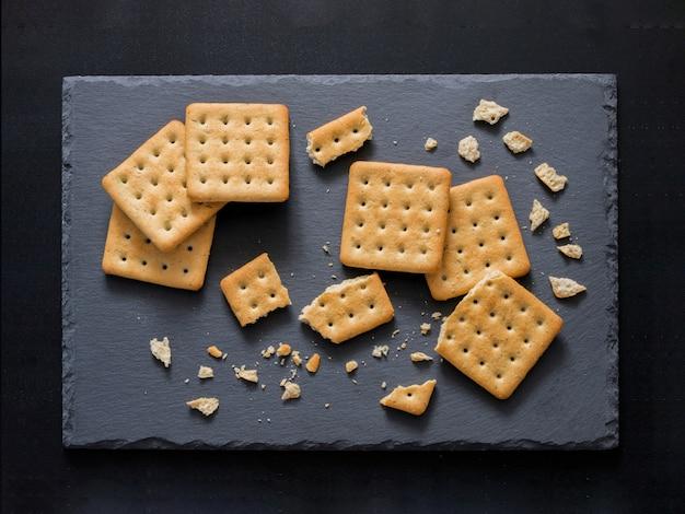 Square salt crackers