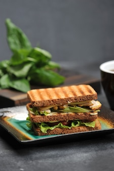 Square sandwich with chicken breast