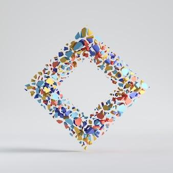 Квадратная форма с отверстием сплит красочный геометрический объект, изолированные на белом фоне