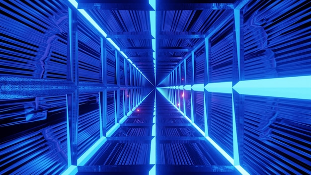 Square shaped geometric tunnel background illuminated with blue neon lights
