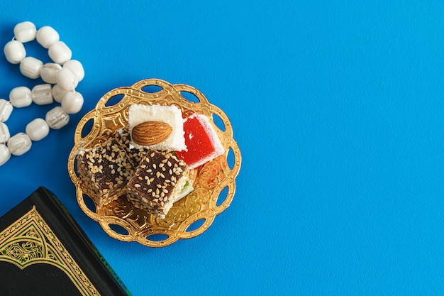 Square shaped turkish delight lokum sweets close up photo
