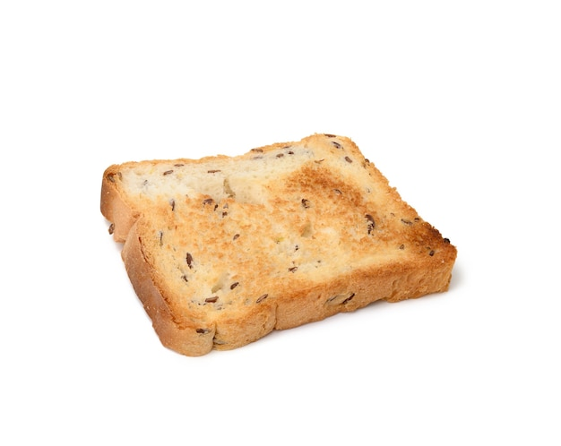 Square slices of bread made from white wheat flour toasted in toaster, top view