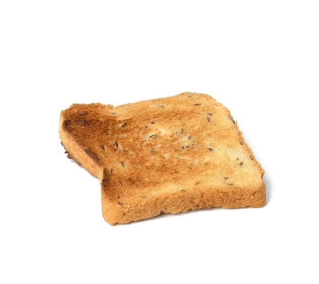 토스터에 구운 흰 밀가루로 만든 정사각형 빵 조각, 위쪽