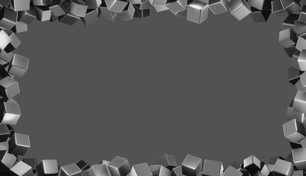 회색 바탕에 떠있는 사각 강철 큐브 프레임