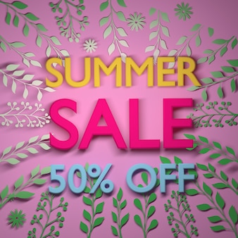 Square summer sale banner with big text and plant leafs in vibrant .