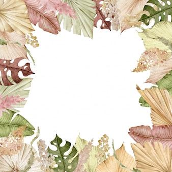 白い背景に分離された水彩のエキゾチックな乾燥した葉で飾られた正方形の熱帯フレーム。