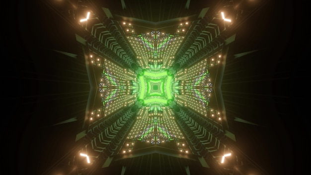 Square tunnel with neon lights 3d illustration