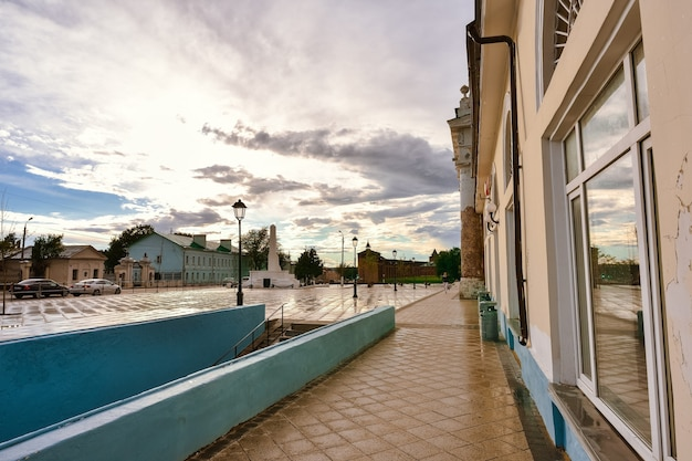 Square of two revolutions in the city of kolomna after rain