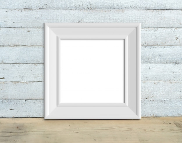 Square vintage white wooden frame stands on a wooden table 3d render.