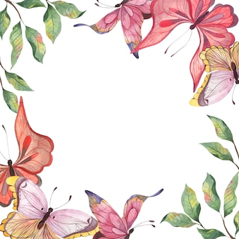 A square watercolor frame with colorful abstract butterflies and twigs of leaves fluttering