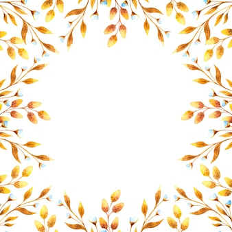 黄金の花の小枝と柳の小枝、白い背景の上のドライフラワーと正方形の水彩フレーム