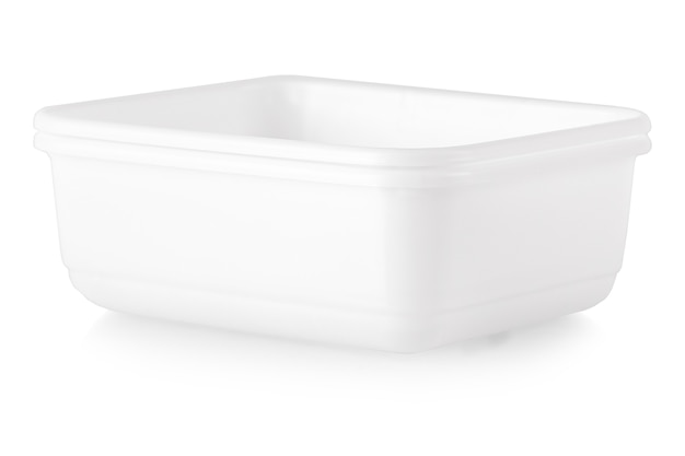 The square white plastic bowl with clipping path isolated on white
