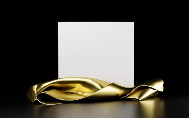 검정색 배경에 격리된 황금 천으로 된 정사각형 흰색 스탠드. 배너, 프레젠테이션, 광고용 템플릿입니다. 3d 그림
