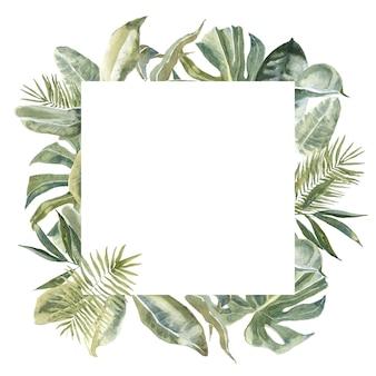 正方形の野生の花の動物の皮プリント、熱帯の葉の正方形のフレーム。エキゾチックなフローラルリース。ヤシの葉のボーダー