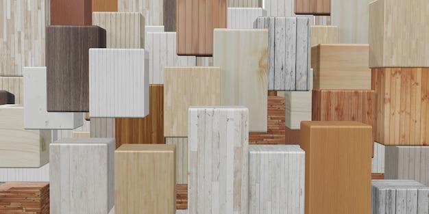 正方形の木ブロックの背景複数の木のテクスチャ複数の色3dイラスト