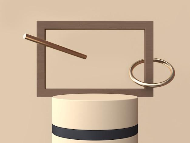 Square wood frame cream black cylinder 3d rendering