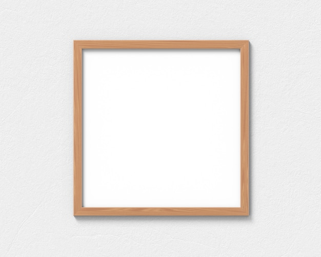 Square wooden frames mockup hanging on the wall. empty base for picture or text. 3d rendering.