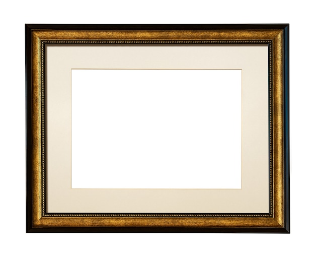 Square wooden picture frame for add your photo isolated on white