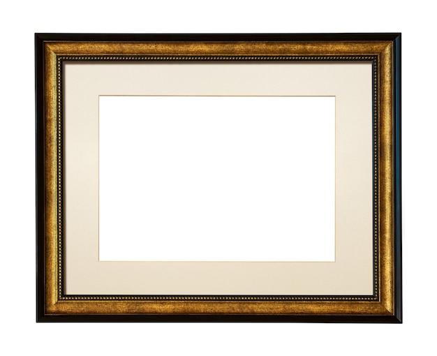 白で隔離のあなたの写真を追加するための正方形の木製額縁