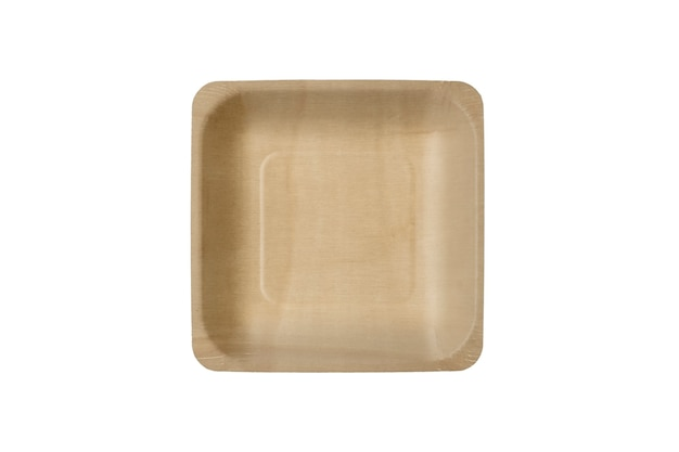 A square wooden plate, eco safe utensil isolated