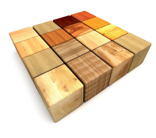 Квадратная форма из деревянных блоков