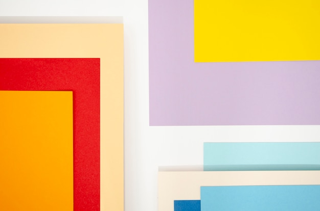 Squares of abstract composition with colour papers
