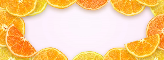 Squeezed slice orange with copy space background for website cover banner