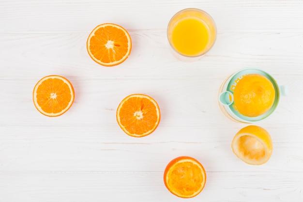 Squeezing juice from citrus fruit