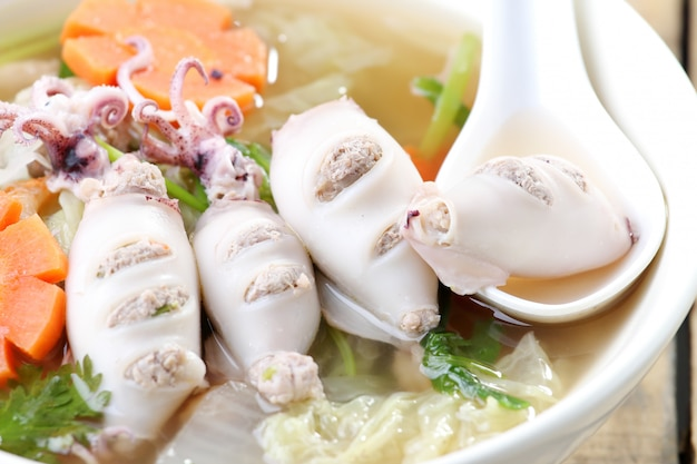 Squid, carrot and pork soup.