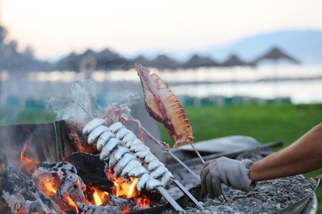 Squid in mans hand fish spit on fire beach