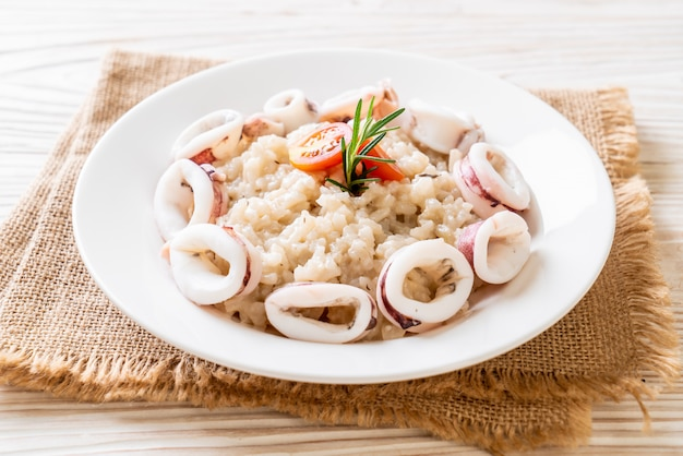 Squids or octopus risotto