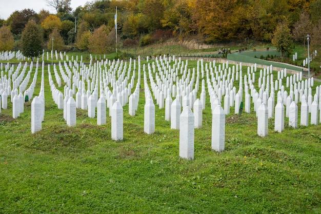 Srebrenica memorial center for war crimes victims commited in bosnian war Premium Photo