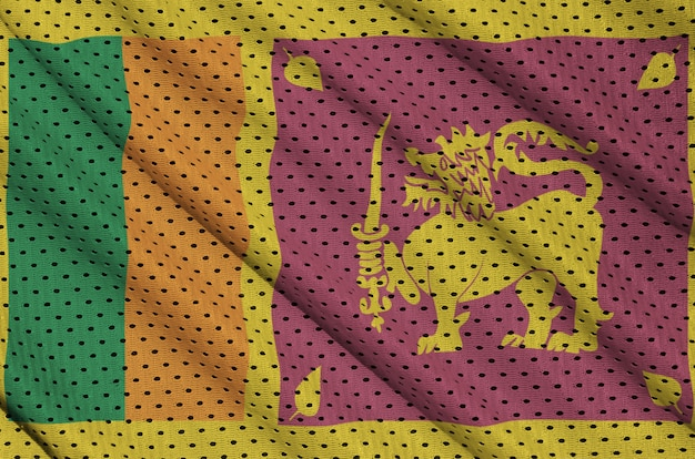 Sri lanka flag printed on a polyester nylon sportswear mesh fabric