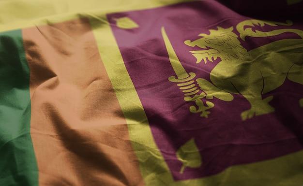 Sri lanka flag rumpled close up