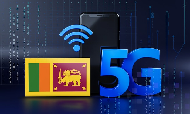 スリランカは5g接続コンセプトの準備ができています。 3dレンダリングスマートフォン技術の背景