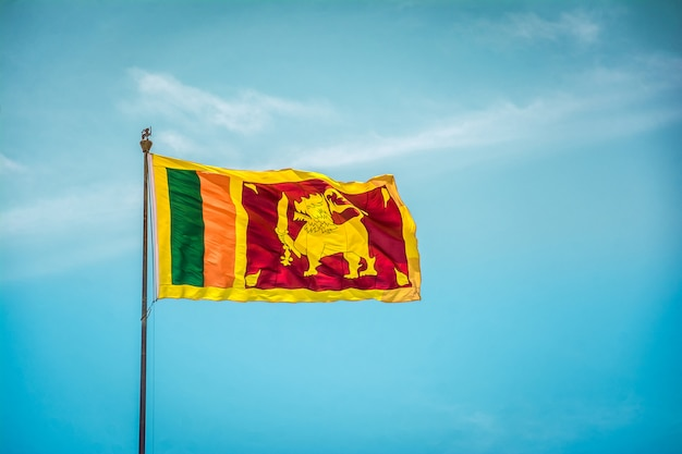 Sri lankan flag waving