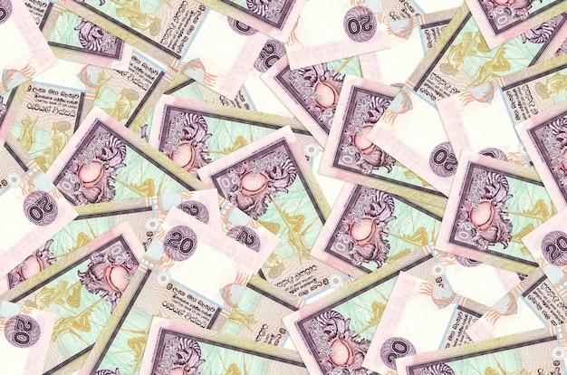 Sri lankan rupees bills lies in big pile isolated
