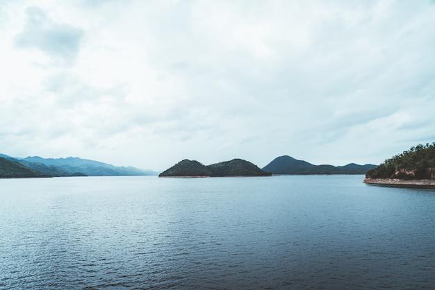 Srinagarind dam with cloudy sky at kanchanaburi ,thailand