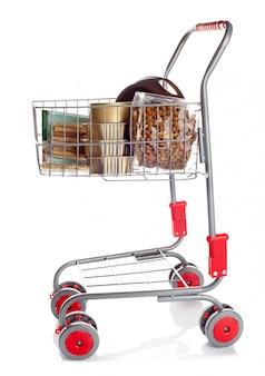 Sshopping cart full of dog food
