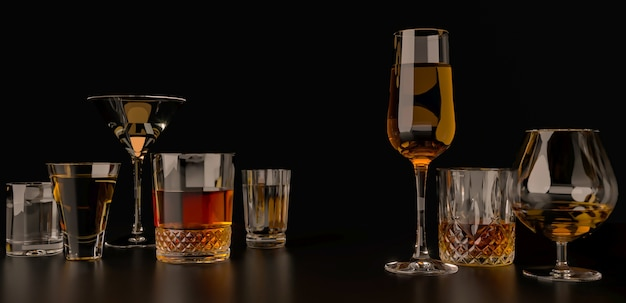 Sstrong alcoholic drinks on dark background