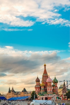 St. basil's cathedral on the background of the gum