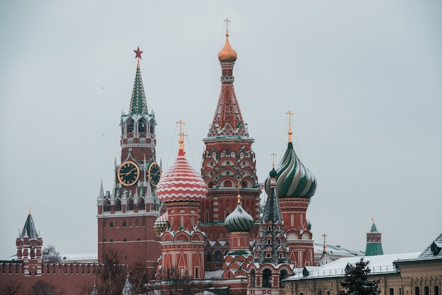 St. basil's cathedral in moscow covered snow