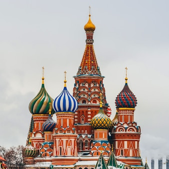 St basil's cathedral on red square, moscow, russia. winter day