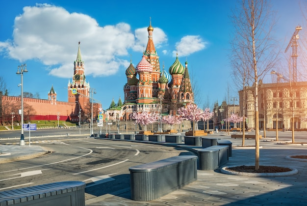 St. basil's cathedral and spassky tower in moscow and trees in the park zariadye