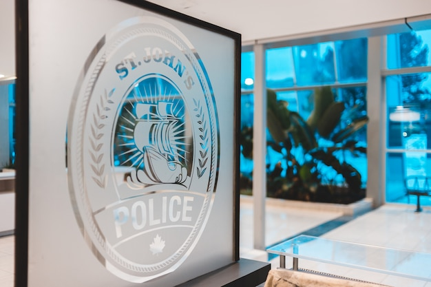 St. john's police frosted glass decor