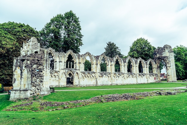 St. mary's abbey, museum garden in york city, england, uk