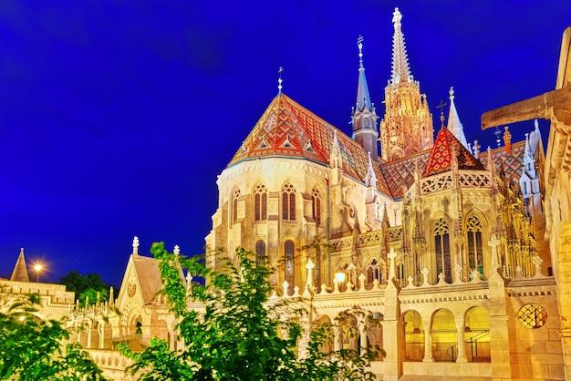 Церковь святого матьяша в будапеште. ночное время.