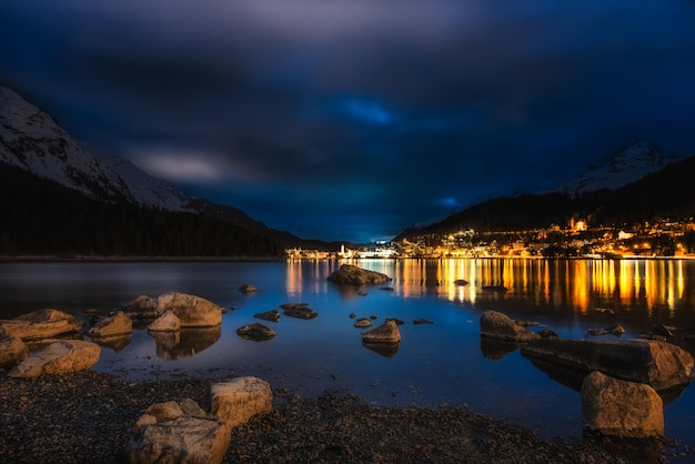 St. moritz bad in night from the lake