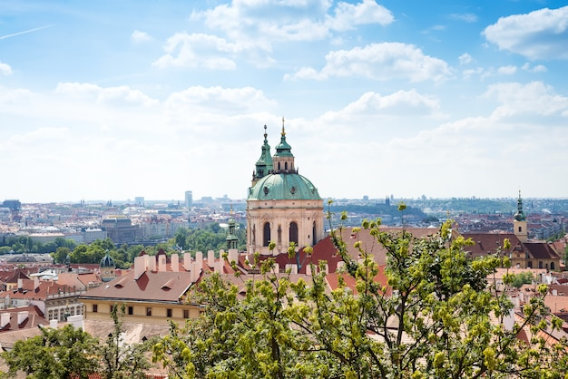 St. nicholas church mala strana and the red roof is the main view in the praha from the prague castle, czech republic